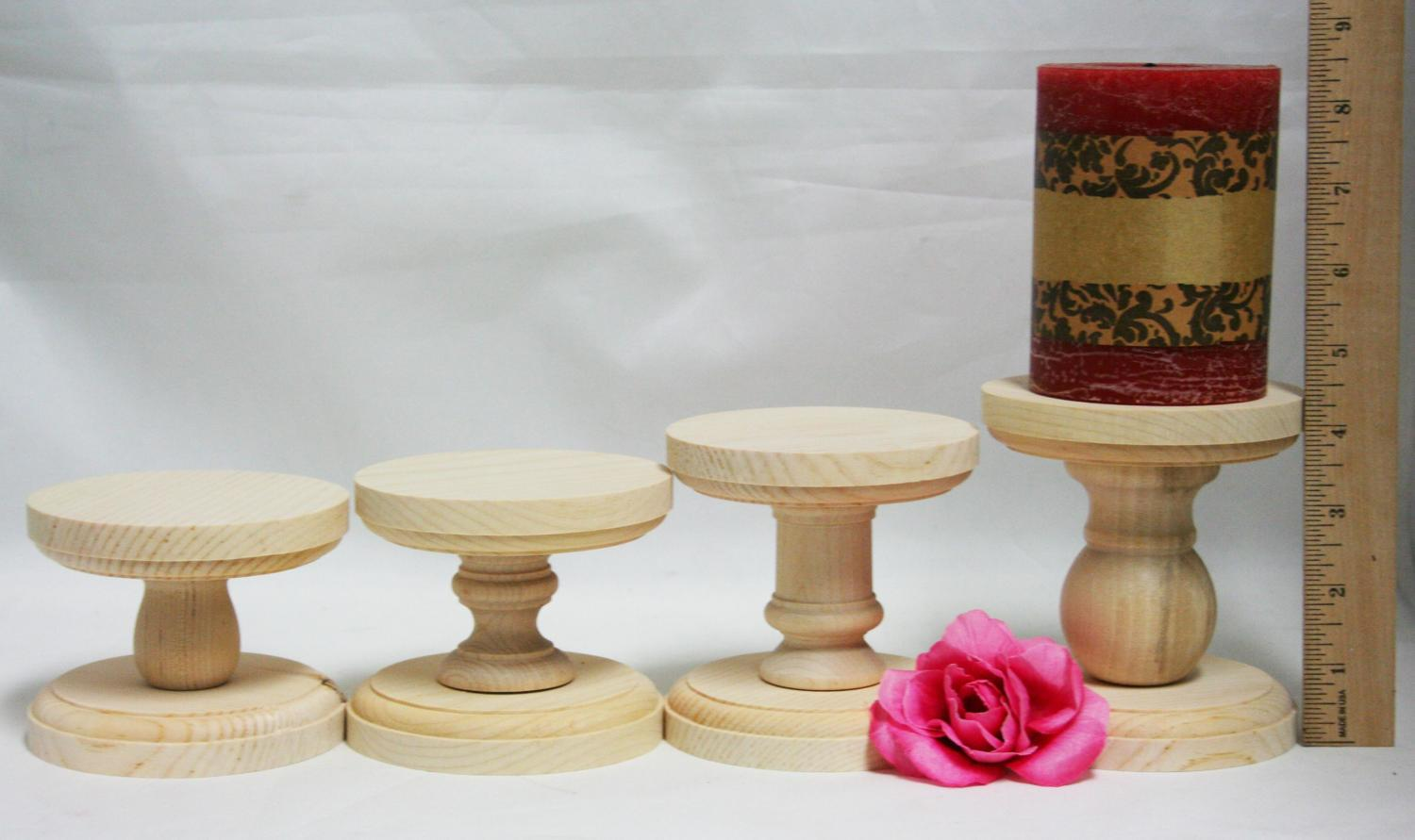Smaller Unfinished Wood Pillar Candlestick Holders