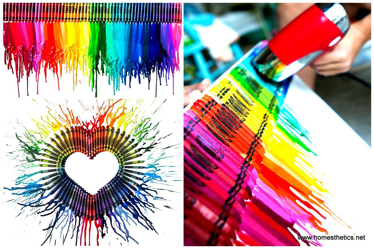 Smart Diy Melted Crayon Art Project Adding Color Any Decor