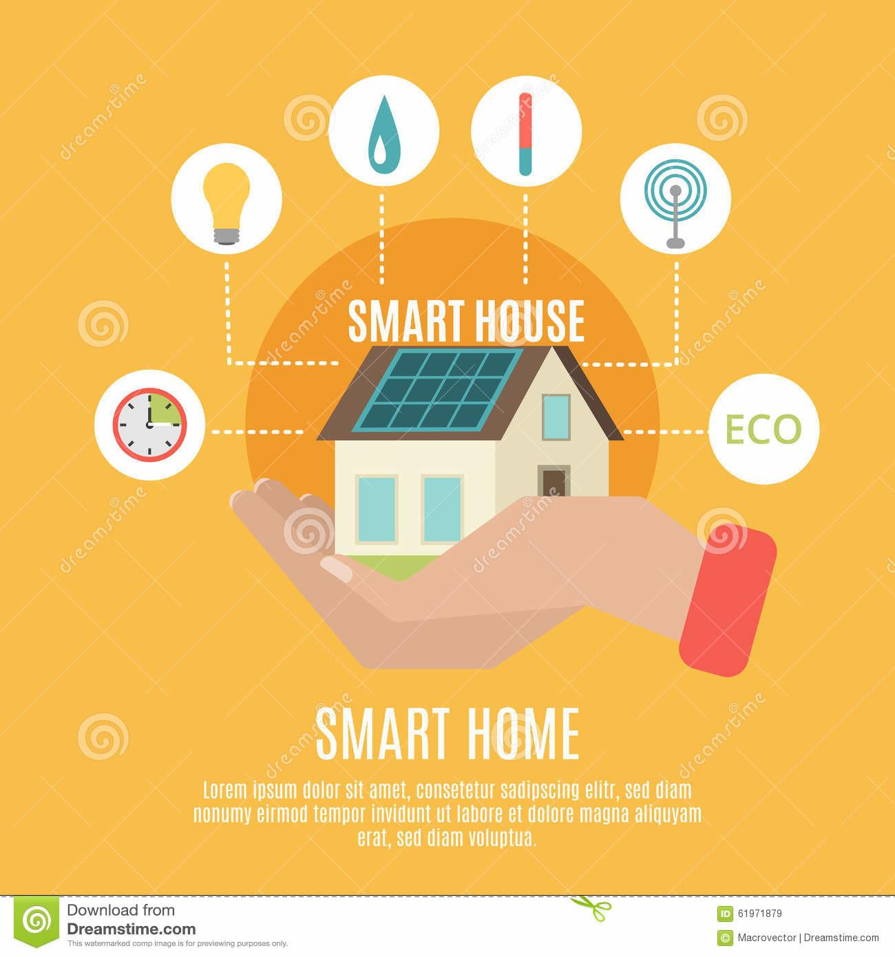 Smart Home Concept Flat Icon Poster Stock Vector