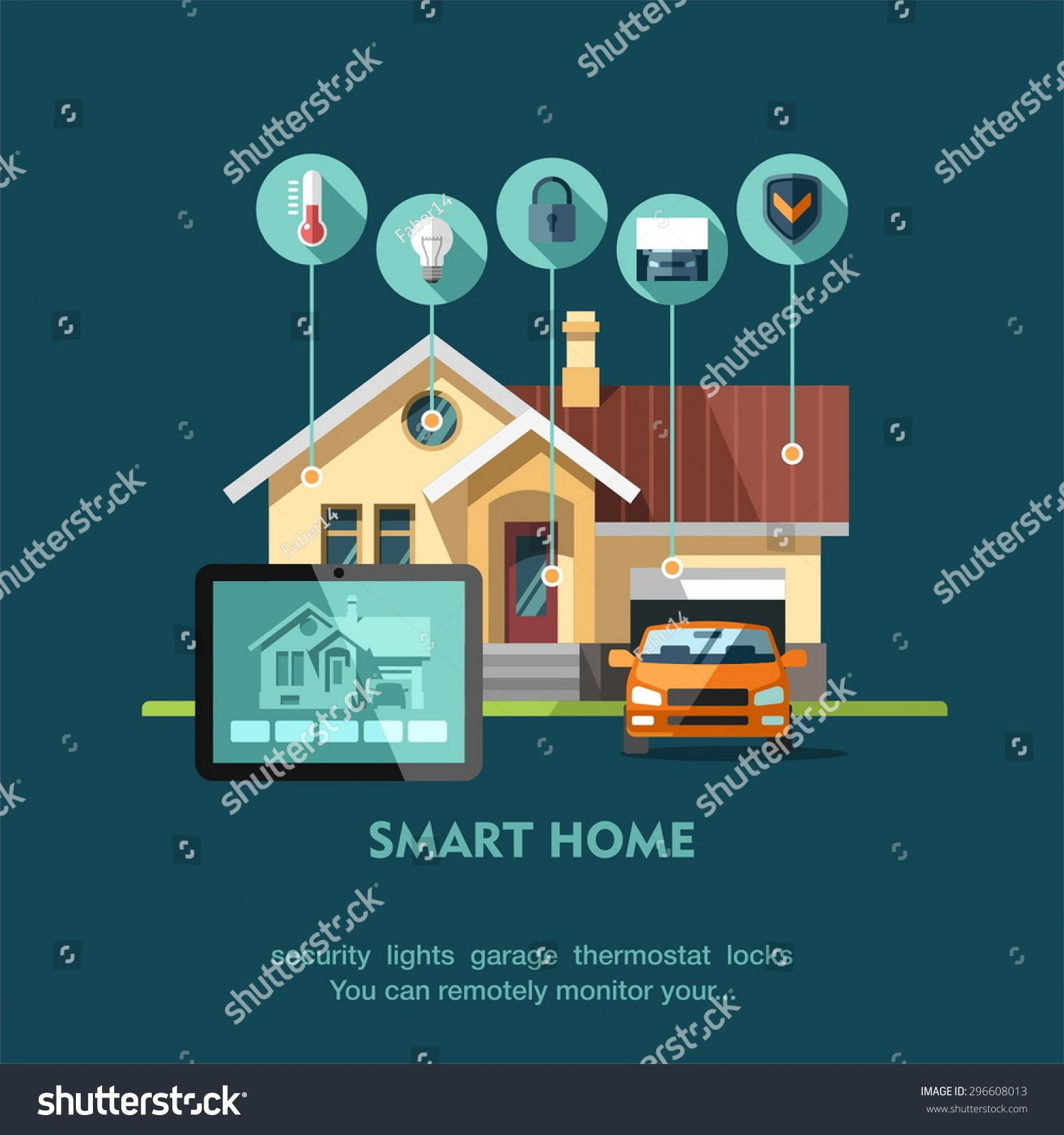 Smart Home Flat Design Style Vector Stock