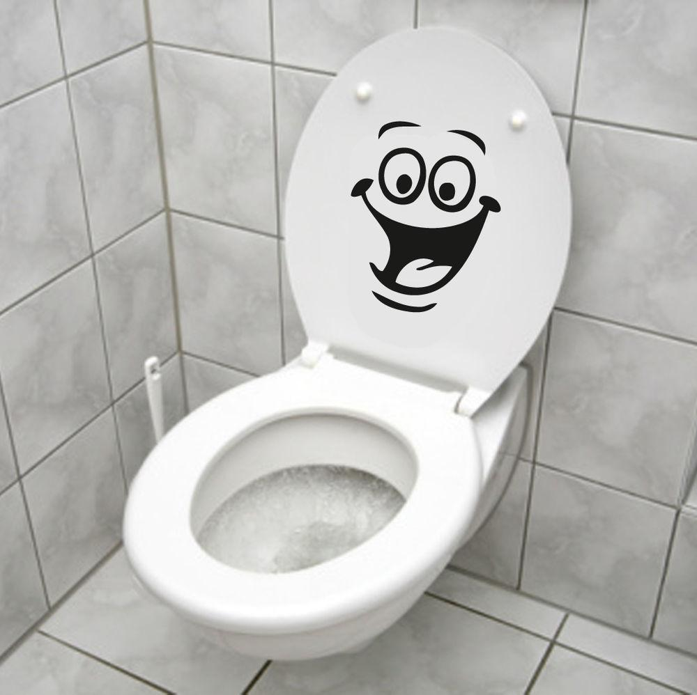 Smiley Face Toilet Decal Wall Mural Art Decor Funny