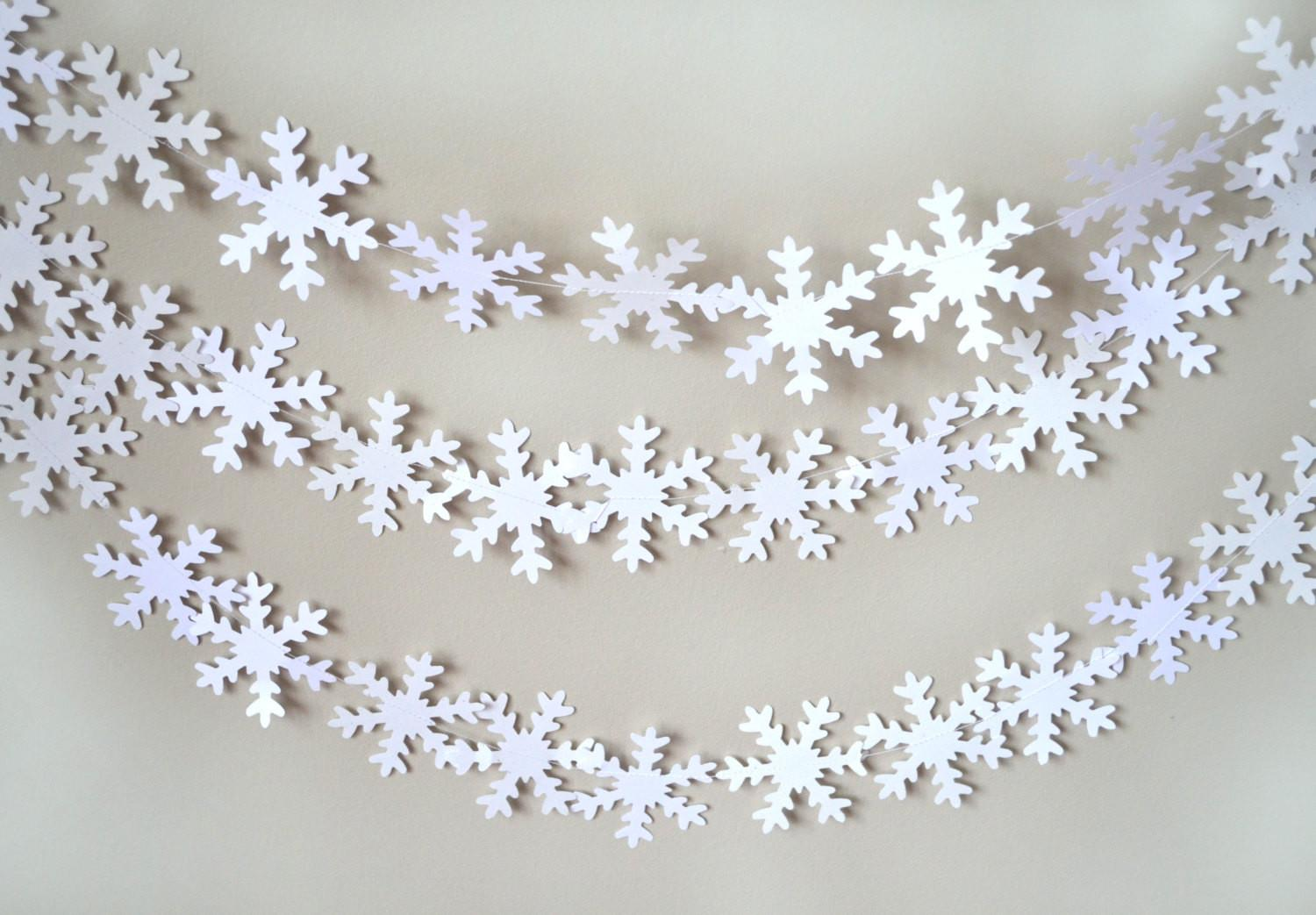 Snowflake Garland White Snowflakes Winter Wonderland