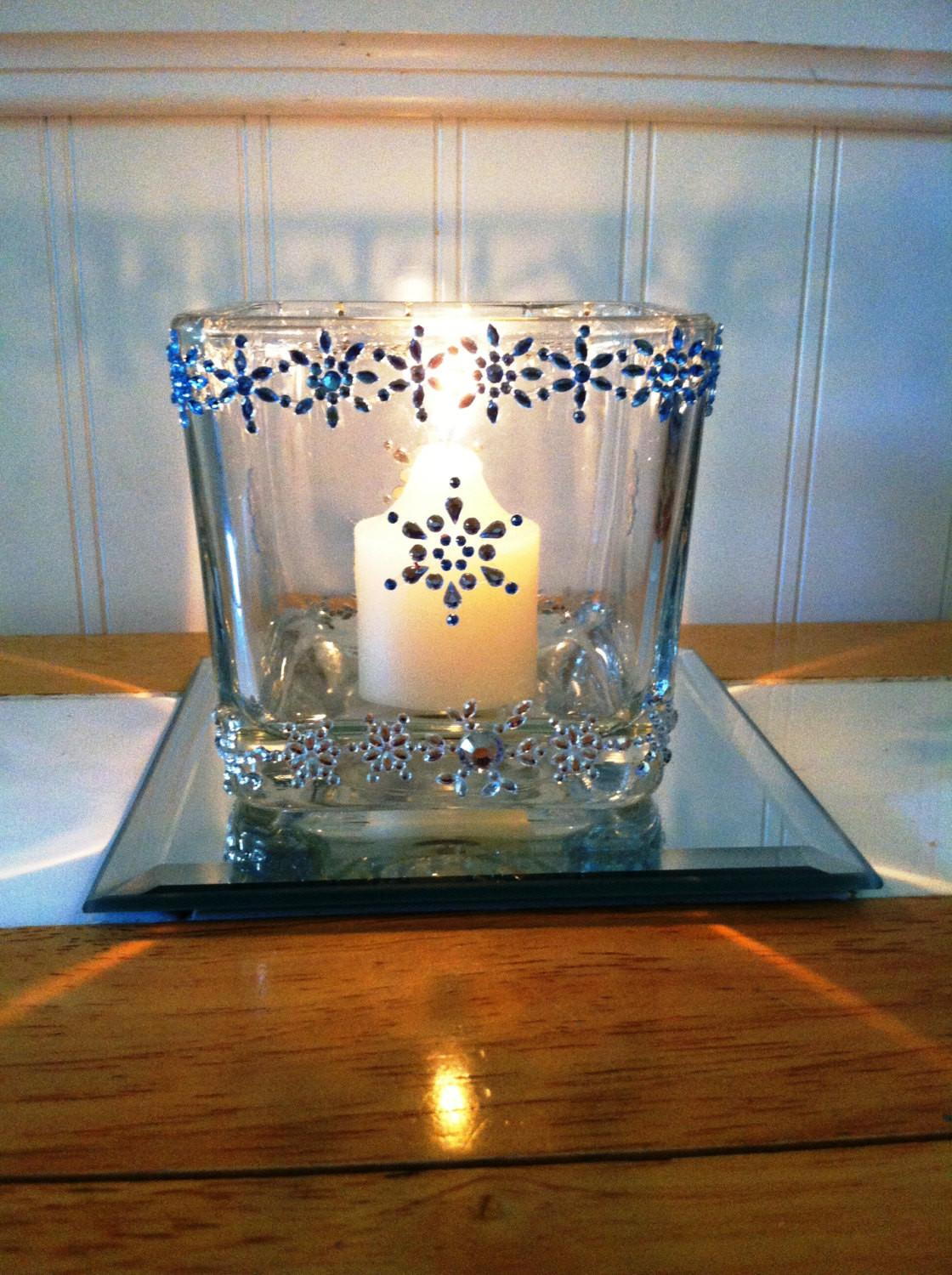 Snowflake Winter Decor Glass Votive Candle Holders Battery