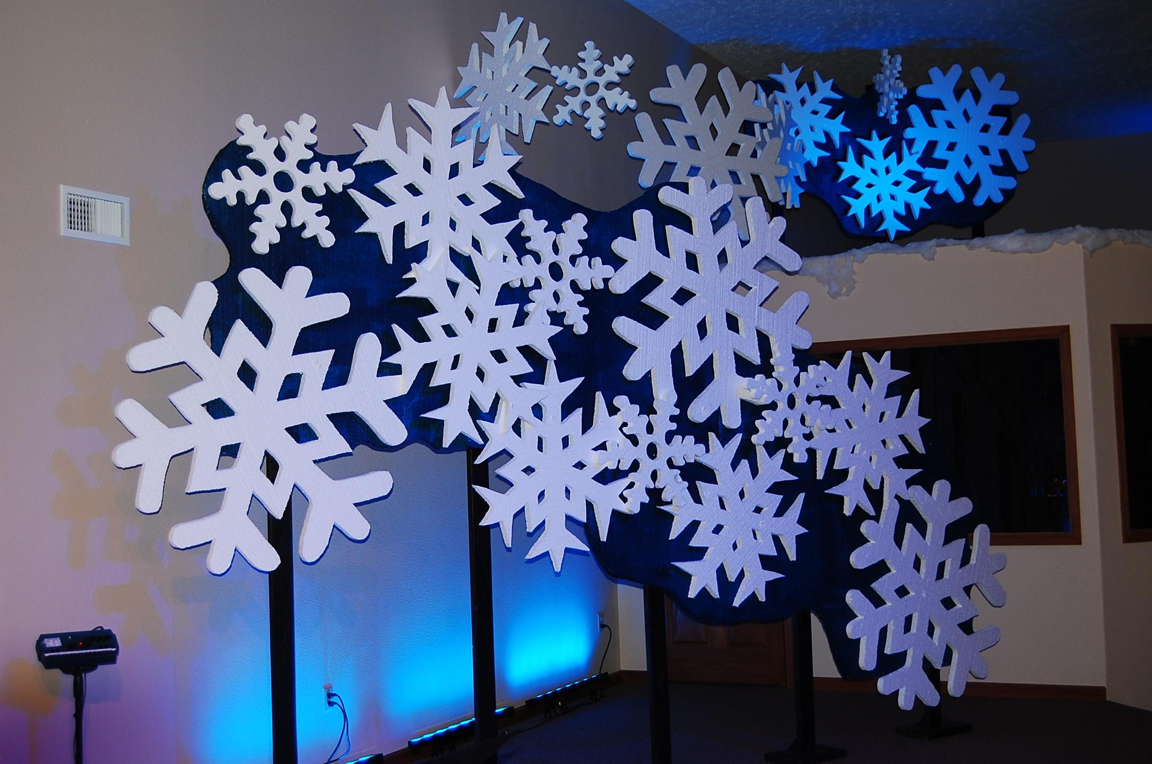 Snowflakes Falling Everywhere Church Stage Design Ideas