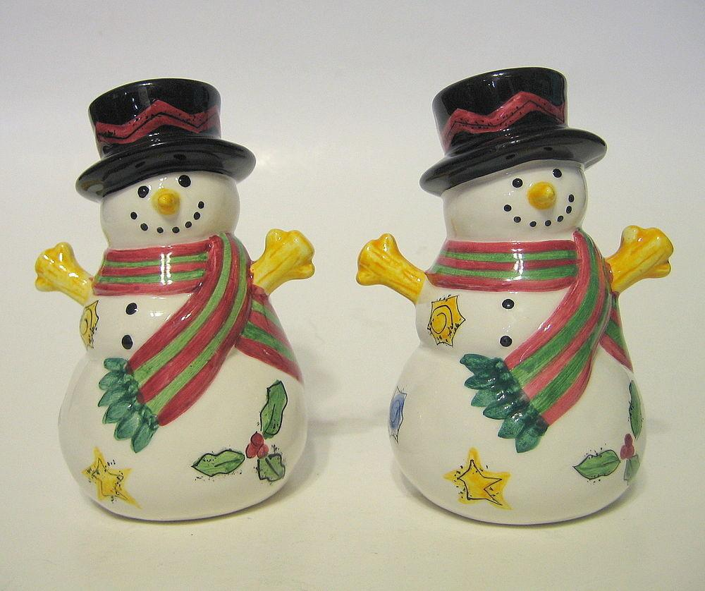 Snowman Salt Pepper Shakers Ceramic Christmas Winter