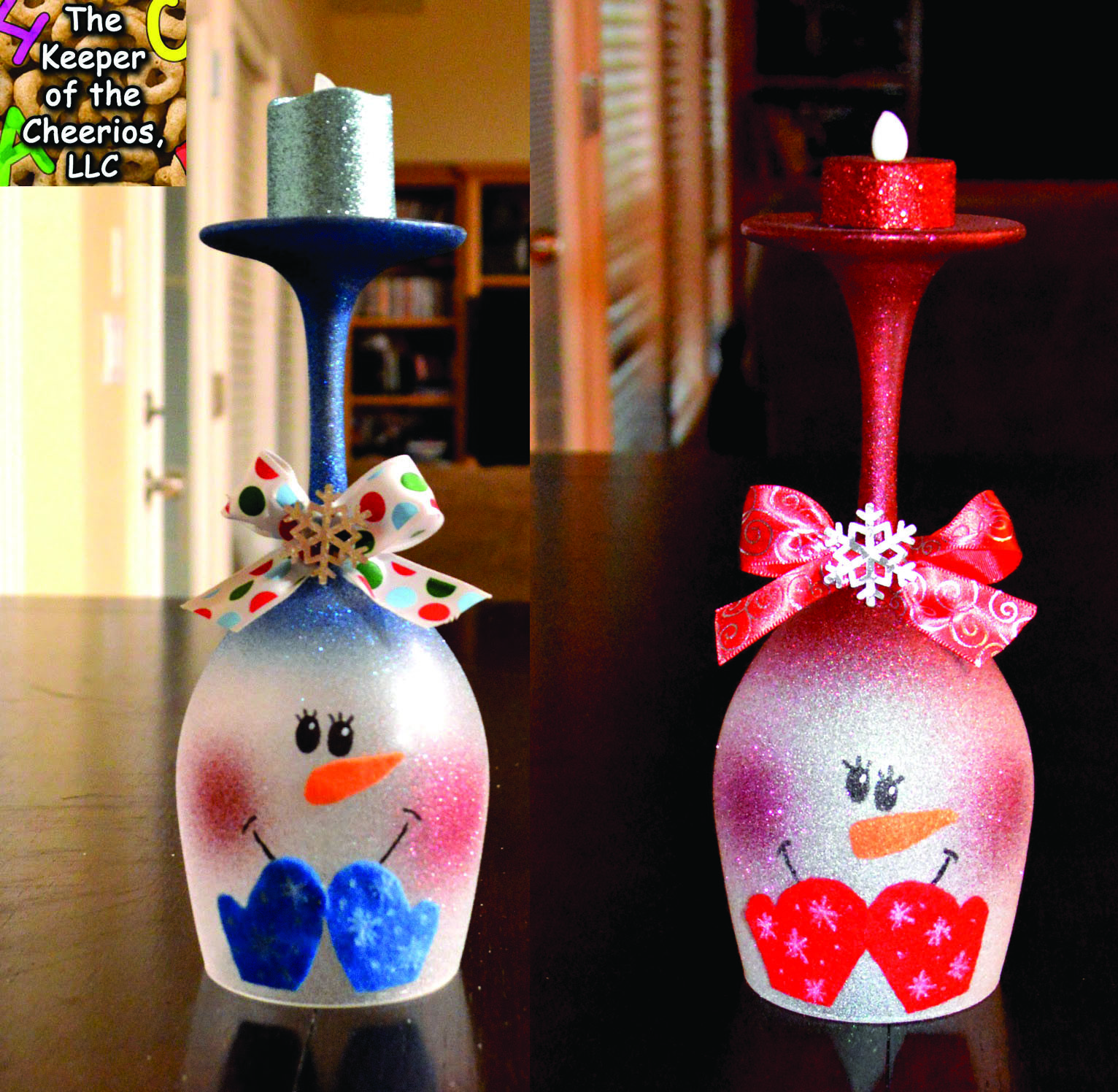 Snowman Wine Glass Candle Holder