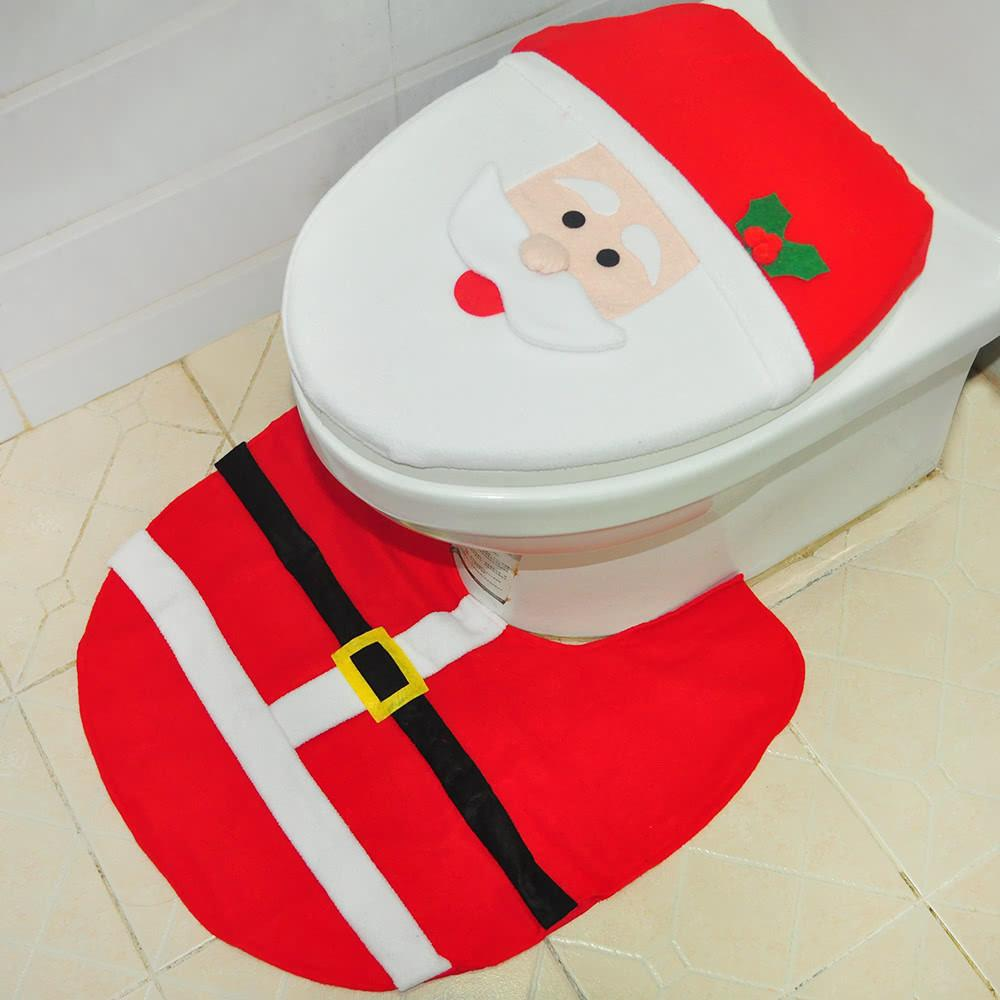 Soft Polyester Christmas Toilet Seat Cover Shaped Anti