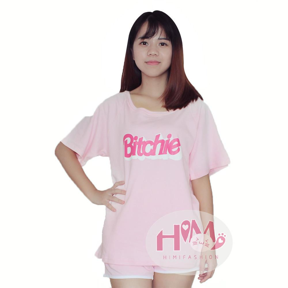 Soft Sister Pink Color Feminine Homewear English Letters