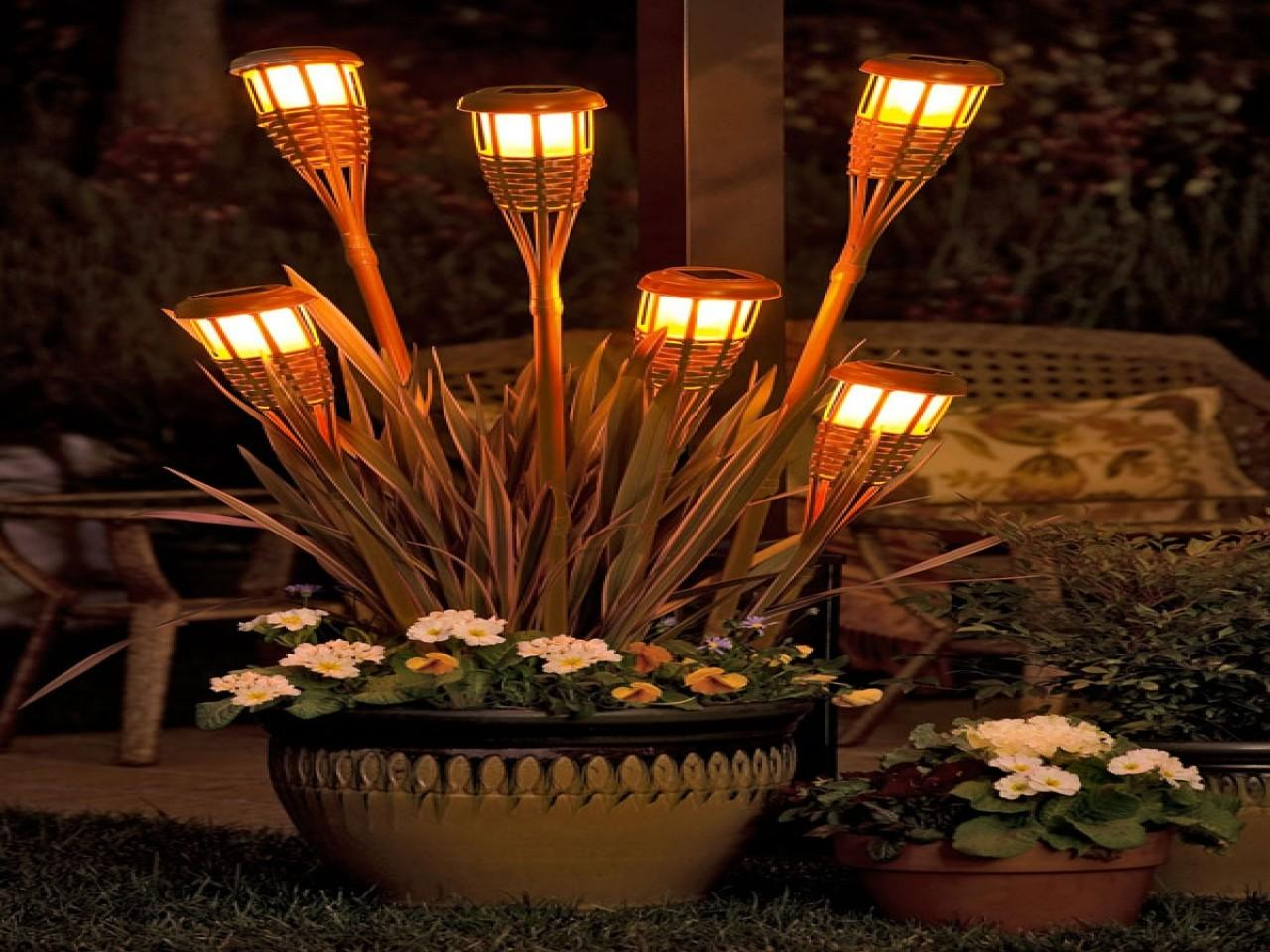 Solar Powered Outside Wall Lights Tiki Torch