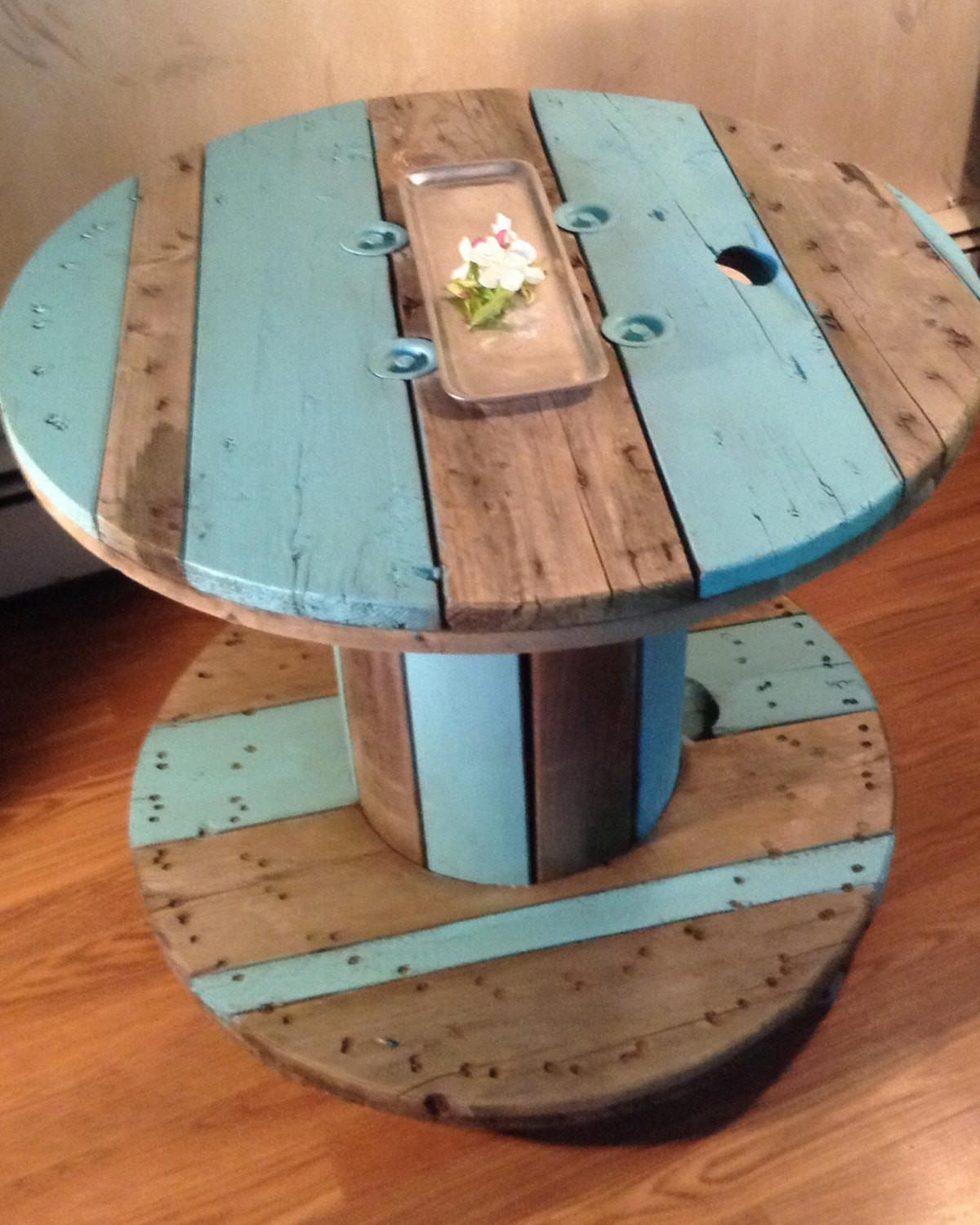 Sold Upcycled Repurposed Cable Spool Side