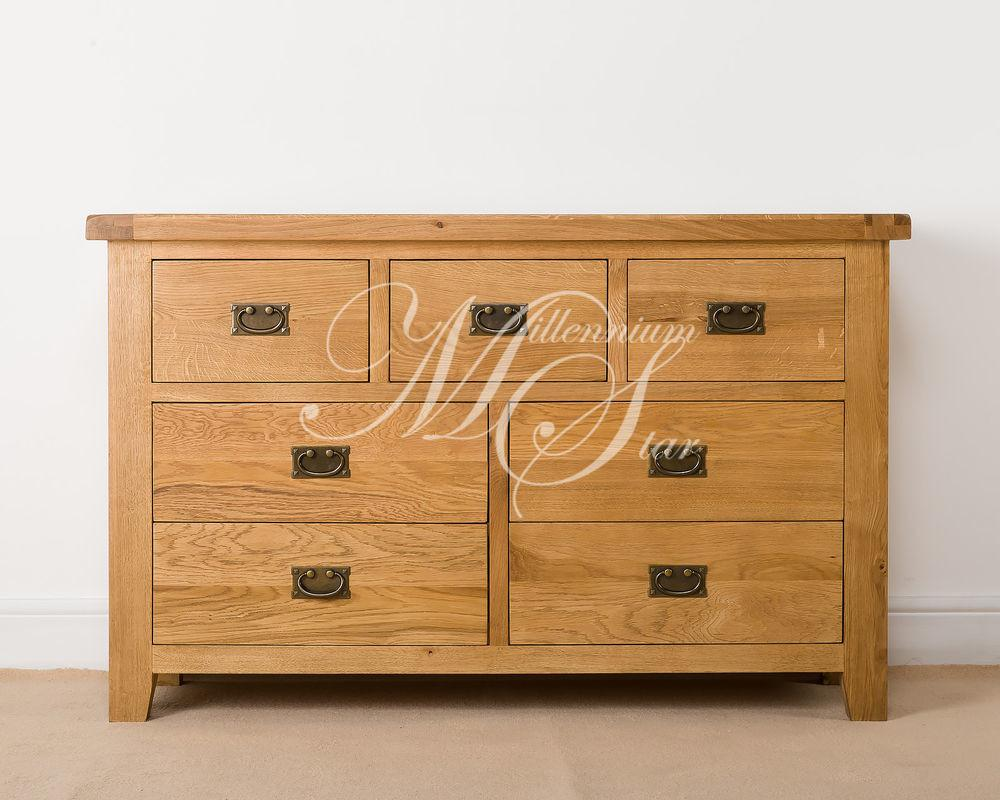 Solid Chunky Wood Rustic Oak Over Chest Drawers