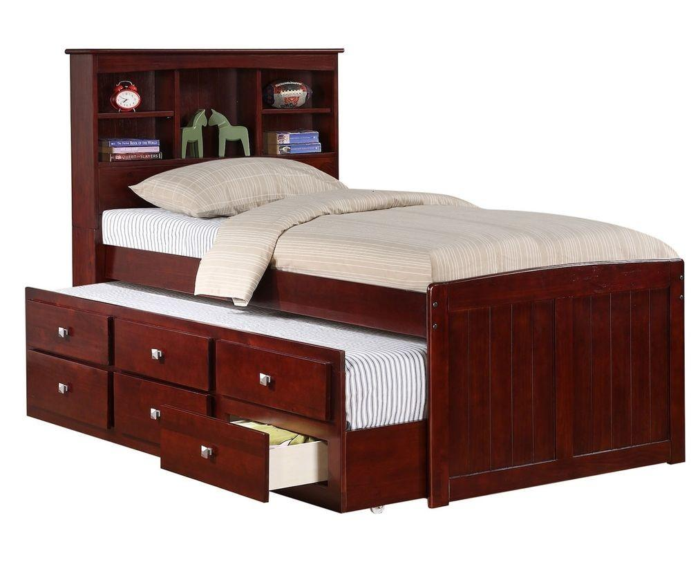 Solid Wood Espresso Bookcase Captains Bed Trundle