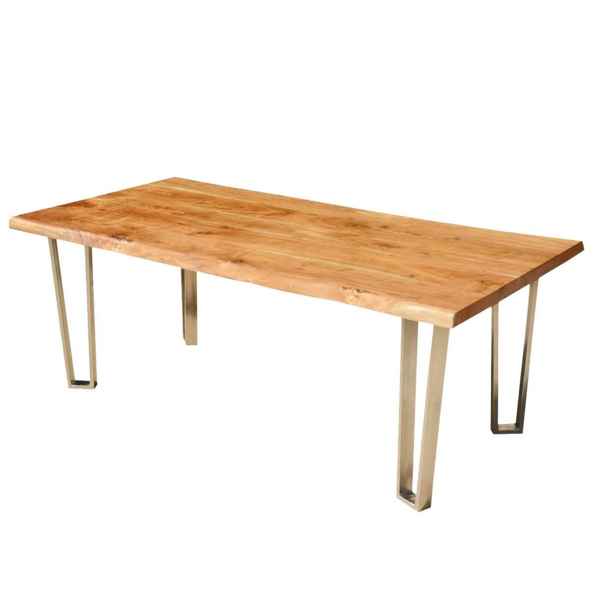 Solid Wood Iron Rustic Live Edge Dining Table