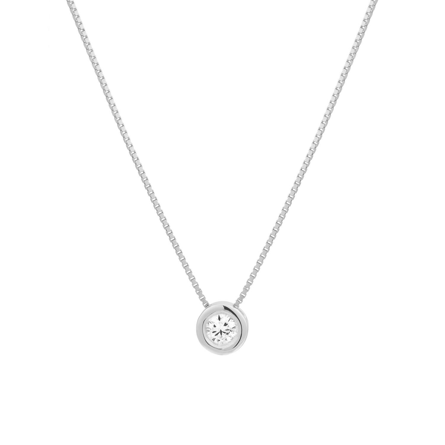 Solitaire Diamond Necklace Round Dainty