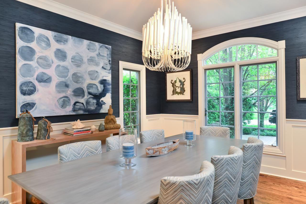 Sophisticated Blue Dining Room Contemporary Chandelier
