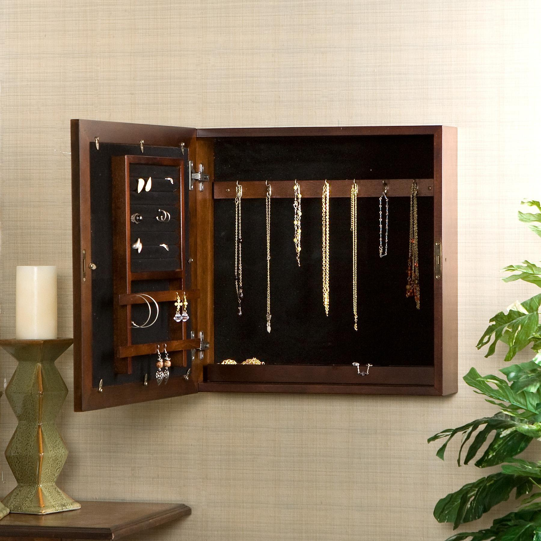 Southern Enterprises Square Wall Mount Jewelry Armoire