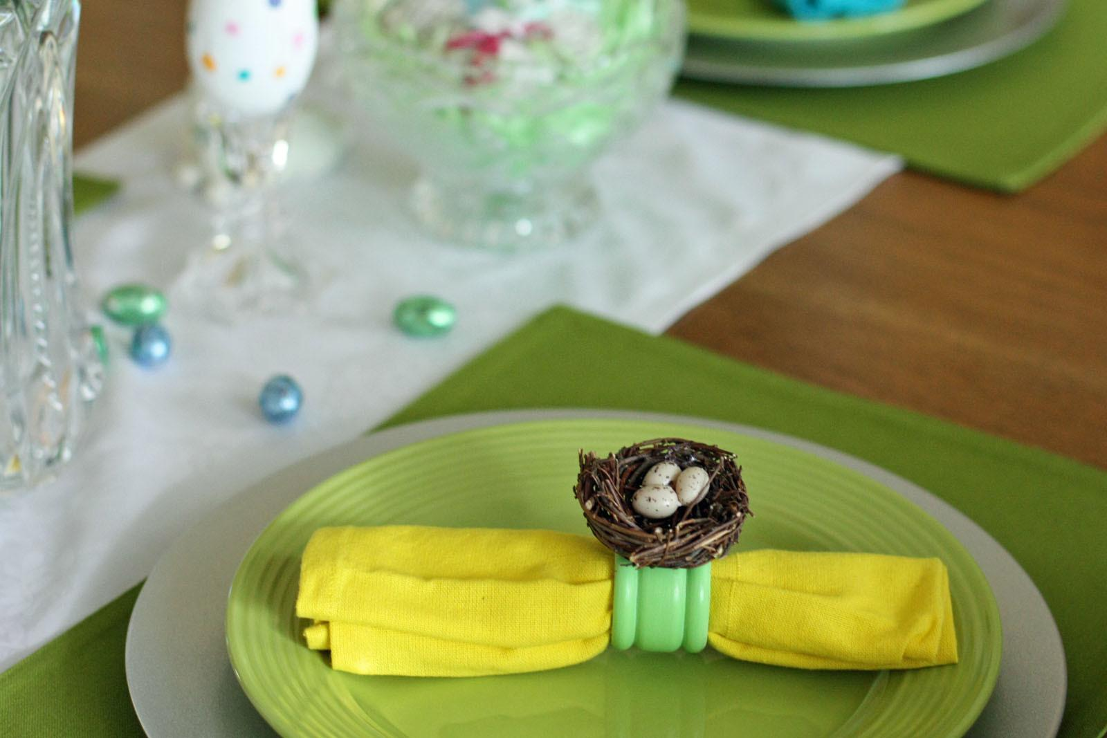 Southern Scraps Bird Nest Napkin Rings Easter Tablescape