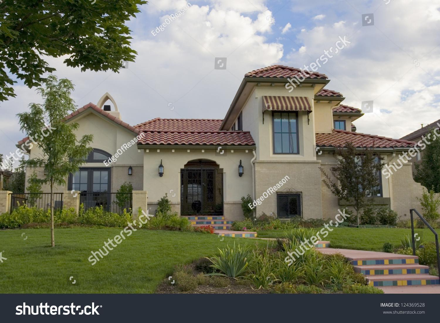 Southwestern Style Stucco House Red Roof