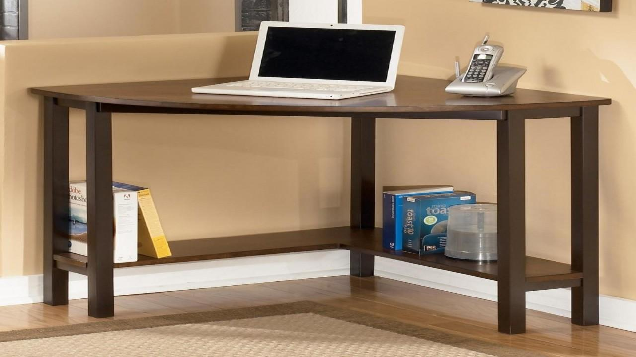 Space Saving Computer Desk Wood Corner Home