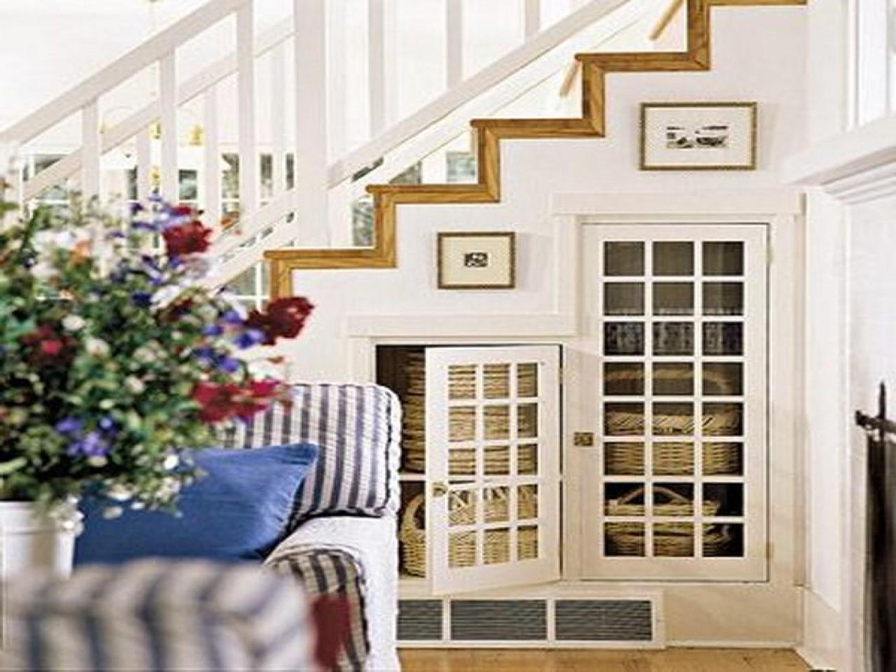 Space Saving Staircase Storage Under Basement Stairs Idea