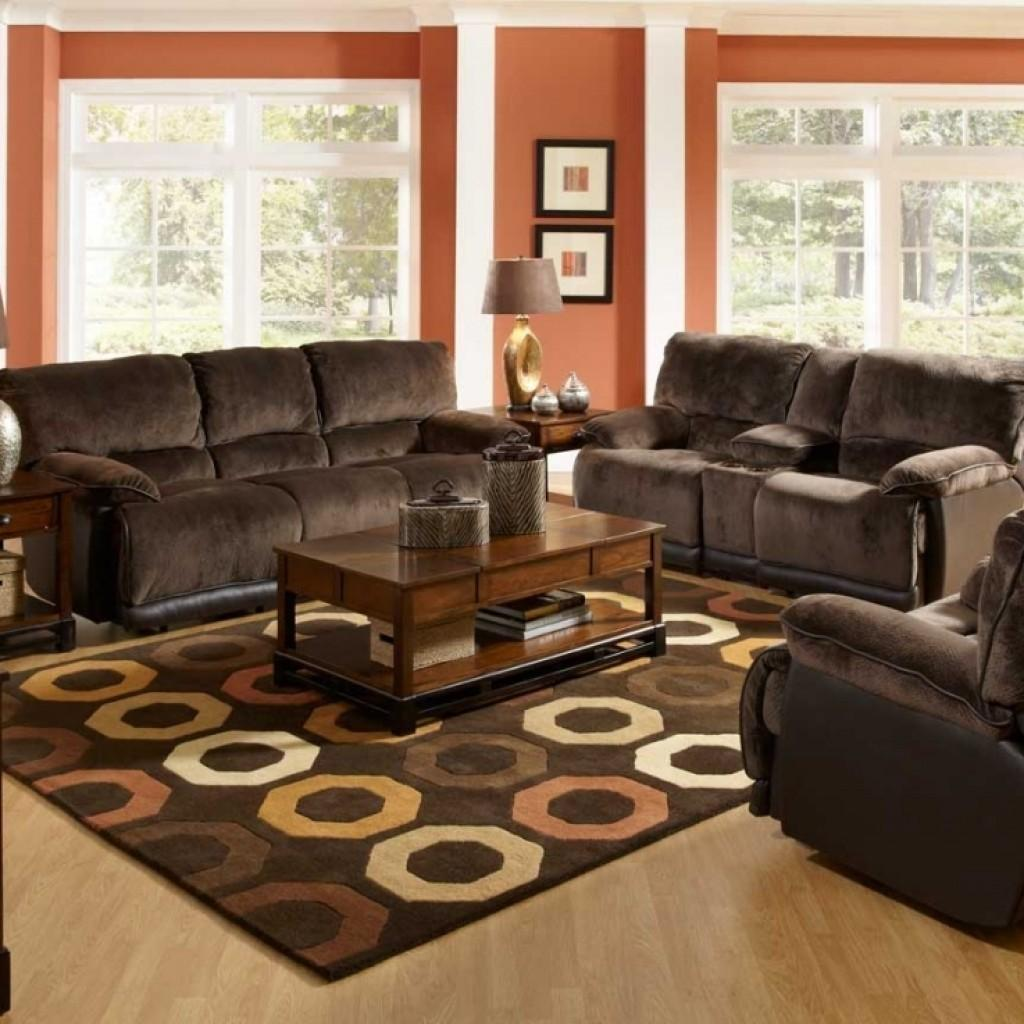 Spacious Living Room Design Red Wall Color Brown
