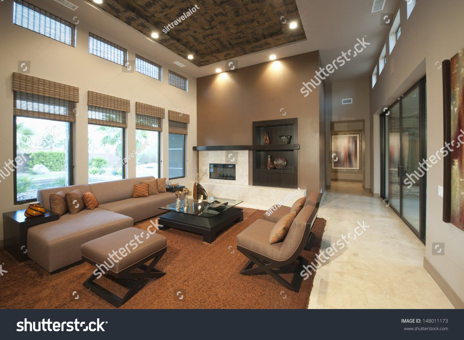 Spacious Living Room Double Height Ceiling Stock