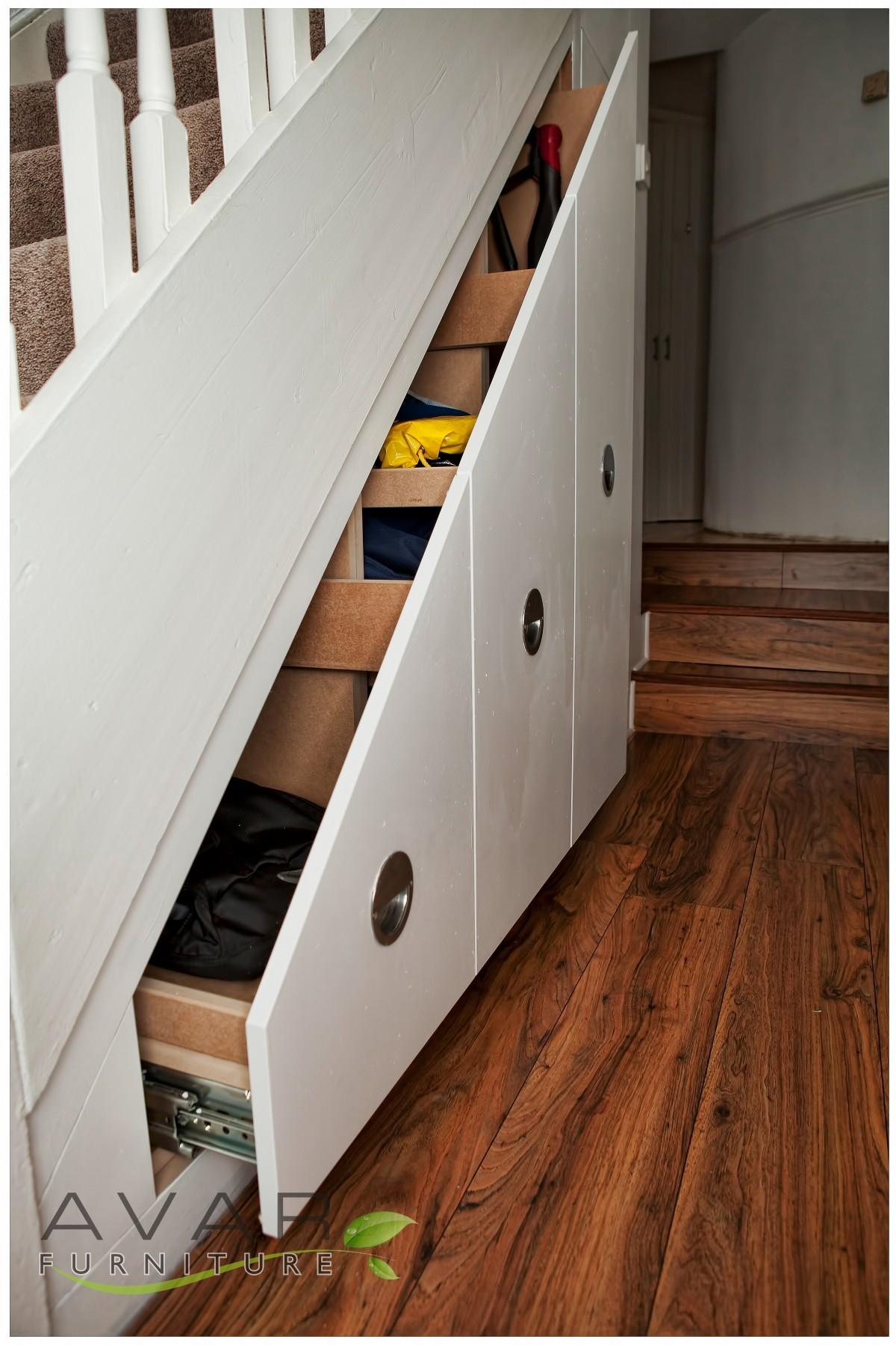 Spectacular White Varnished Small Drawers Storage Under