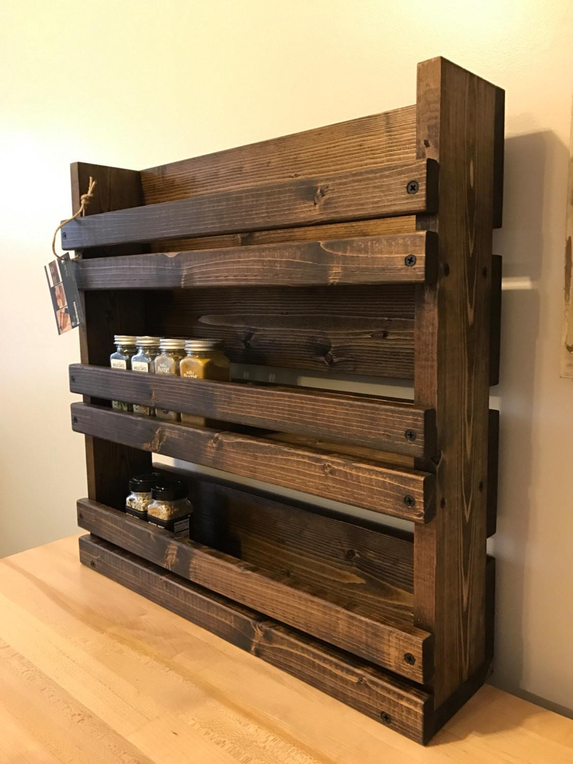 Spice Rack Rustic Shelves Kitchen