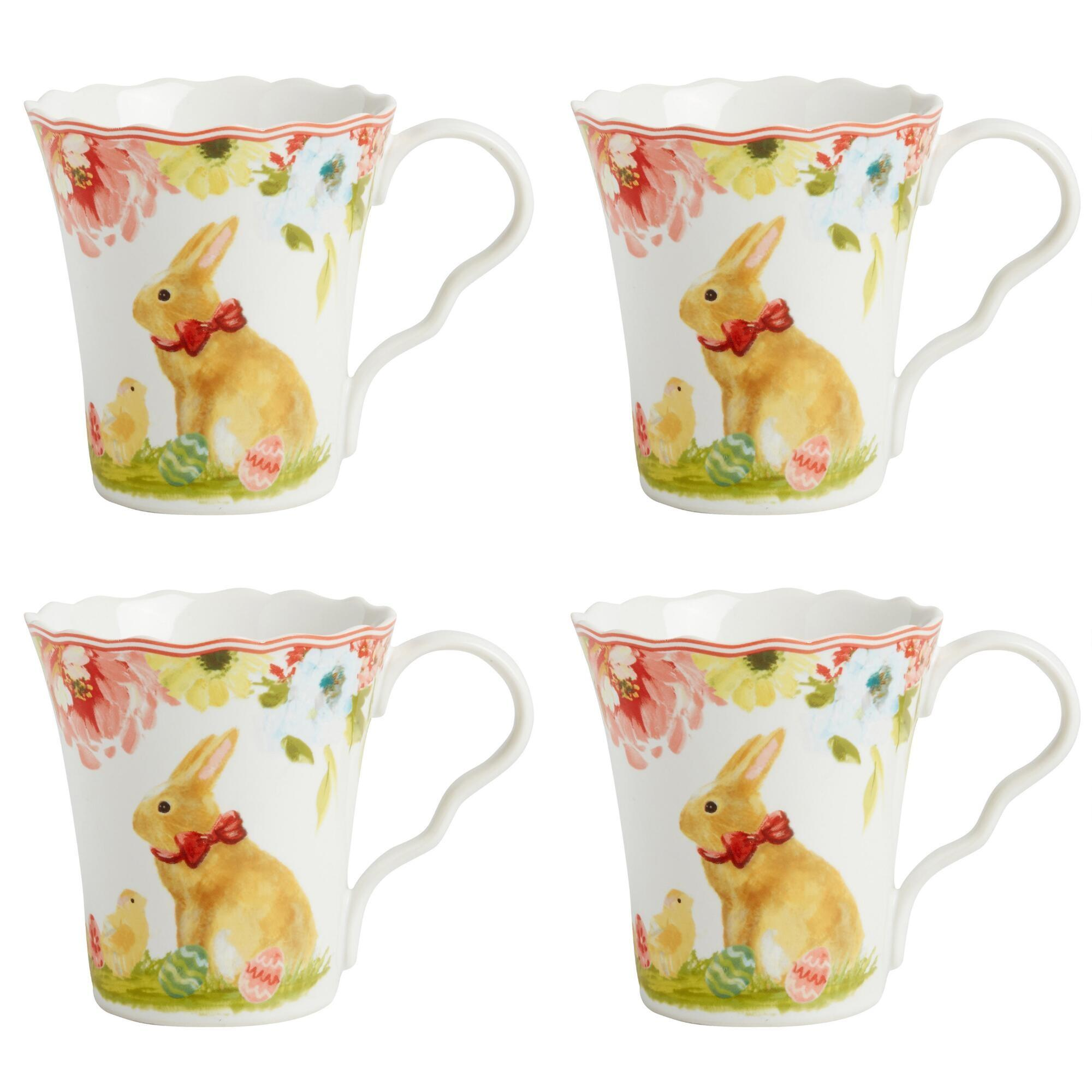 Spring Blooms Bunny Scalloped Mugs Set