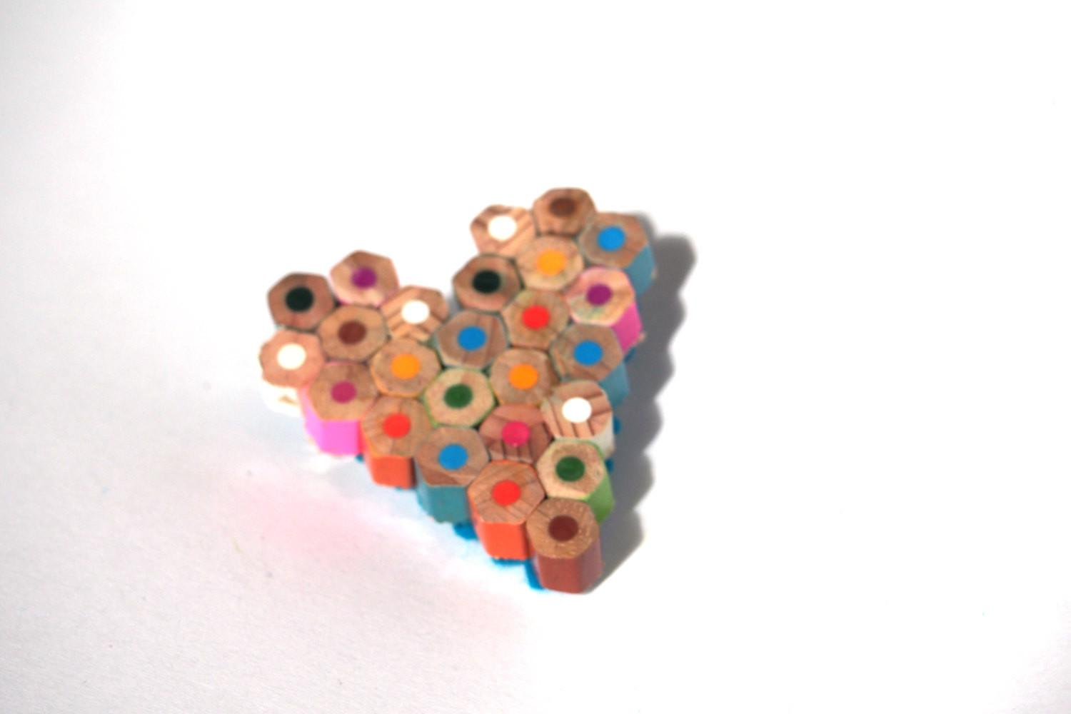 Spring Brooch Heart Shaped Colored Pencils Fun