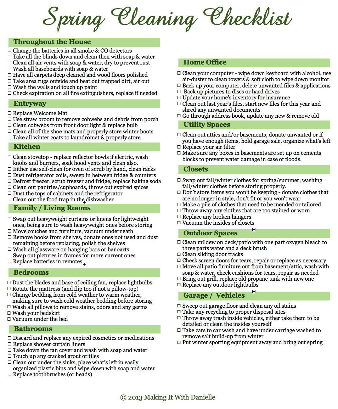 Spring Cleaning Checklist Tips