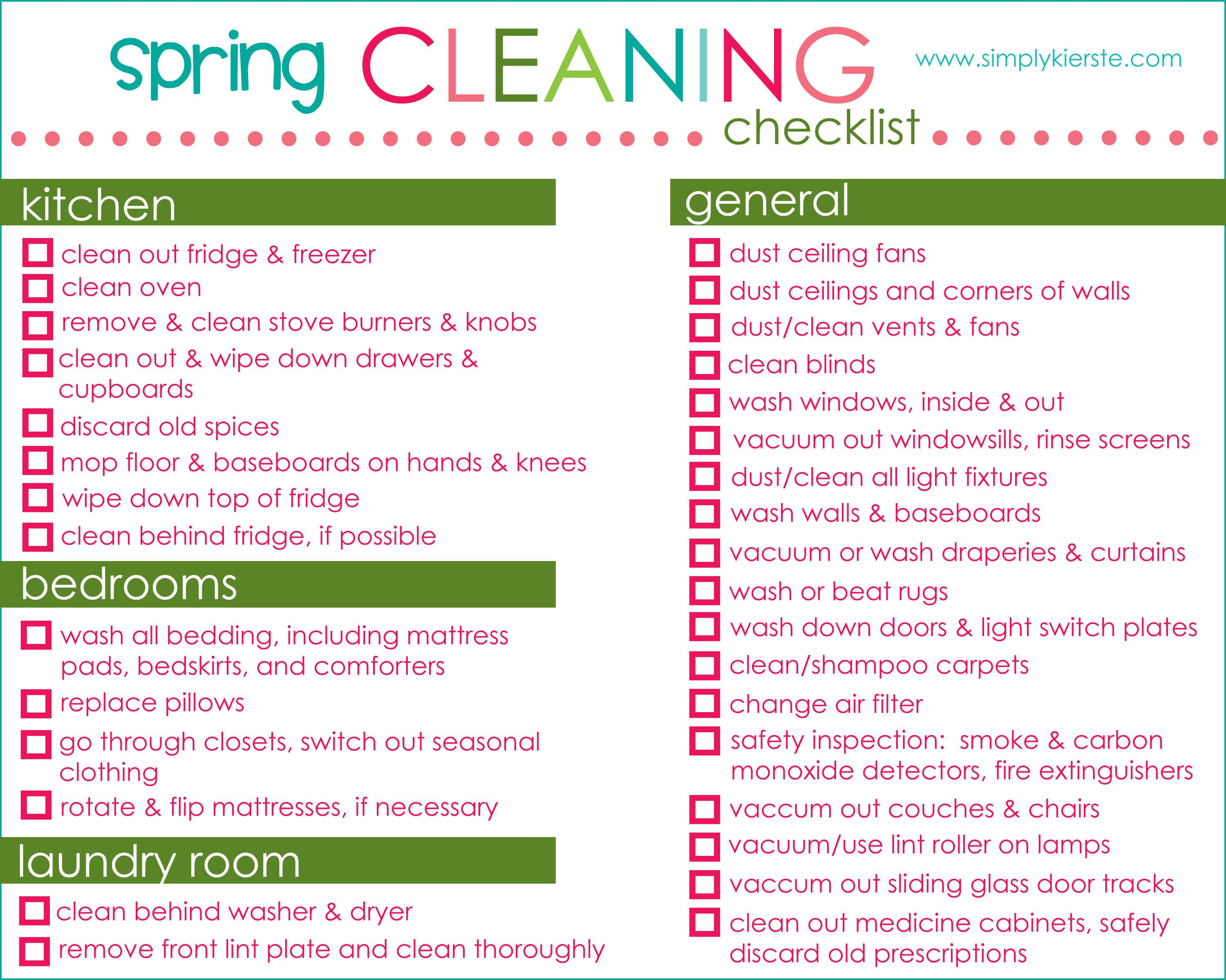 Spring Cleaning Checklist Tips Printable