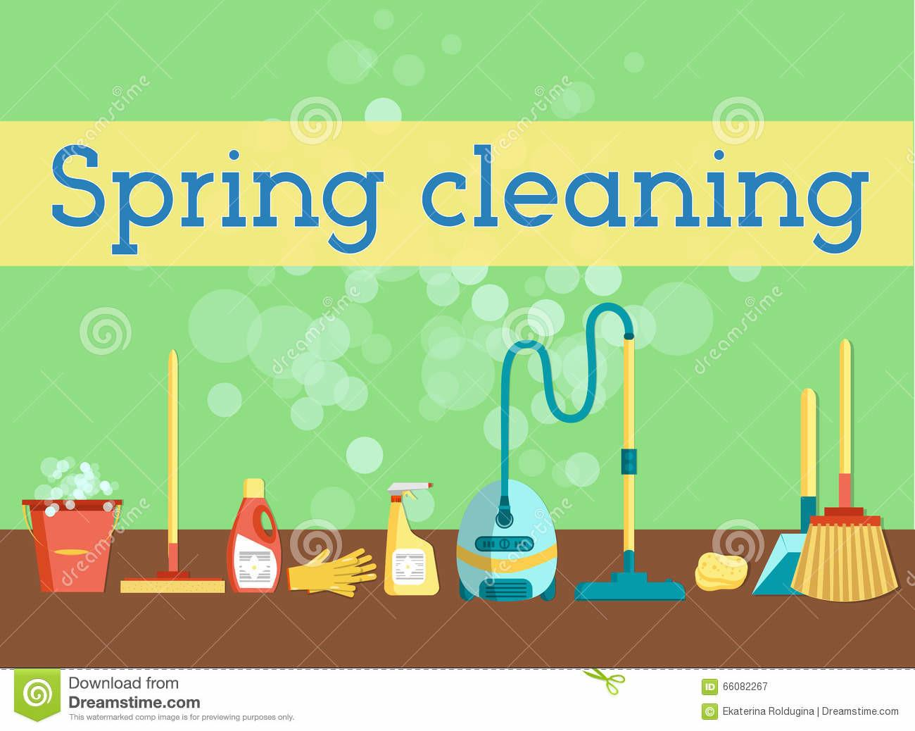 Spring Cleaning Minimal Colorful Flat Vector Graphics