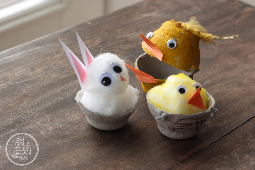 Spring Crafts Egg Carton Bunnies Chicks Gold