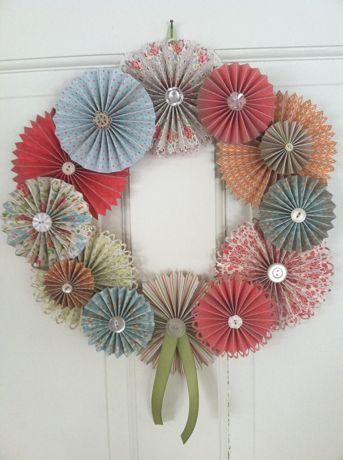 Spring Dreaming Paper Rosette Vintage Button Wreath