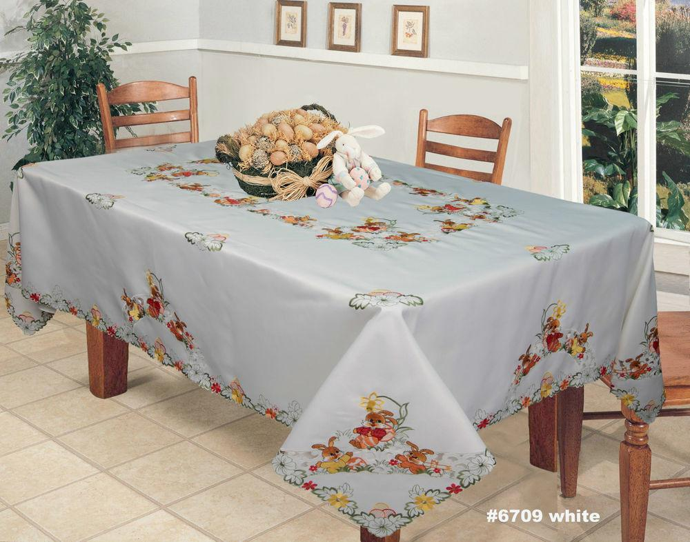 Spring Embroidered Easter Bunny Egg Floral Tablecloth