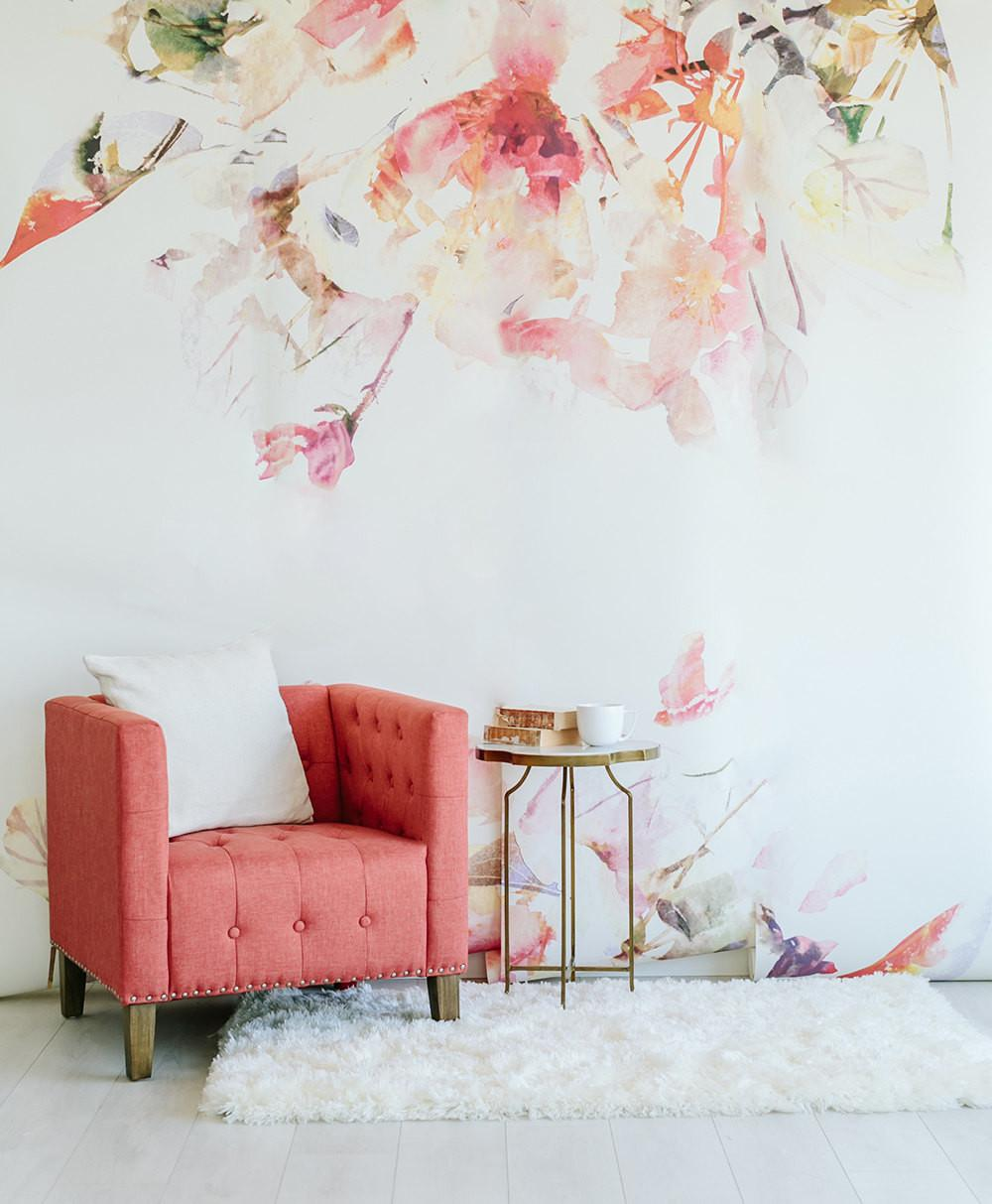 Spring Floral Large Wall Mural Watercolor