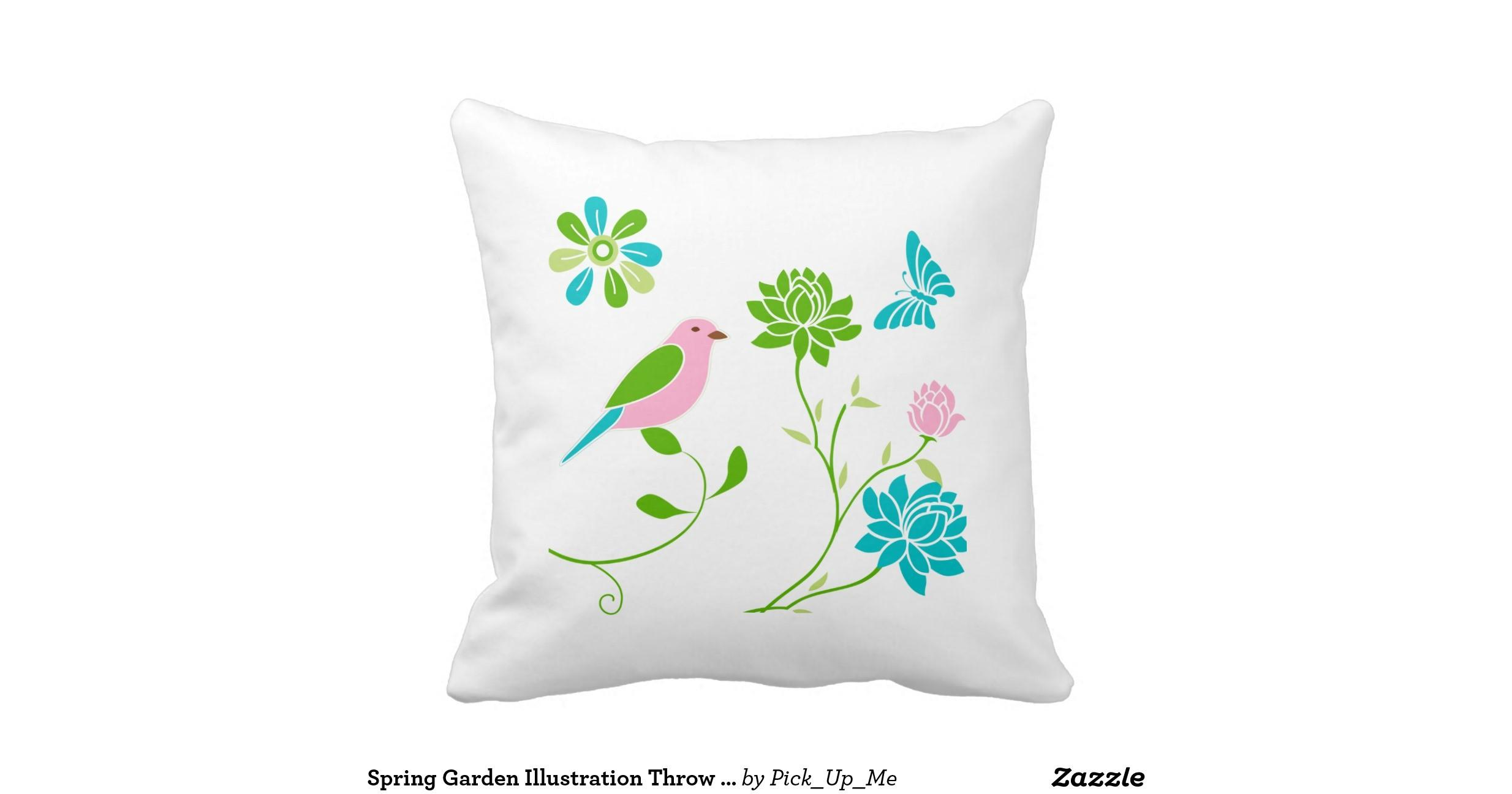 Spring Garden Illustration Throw Pillows Zazzle