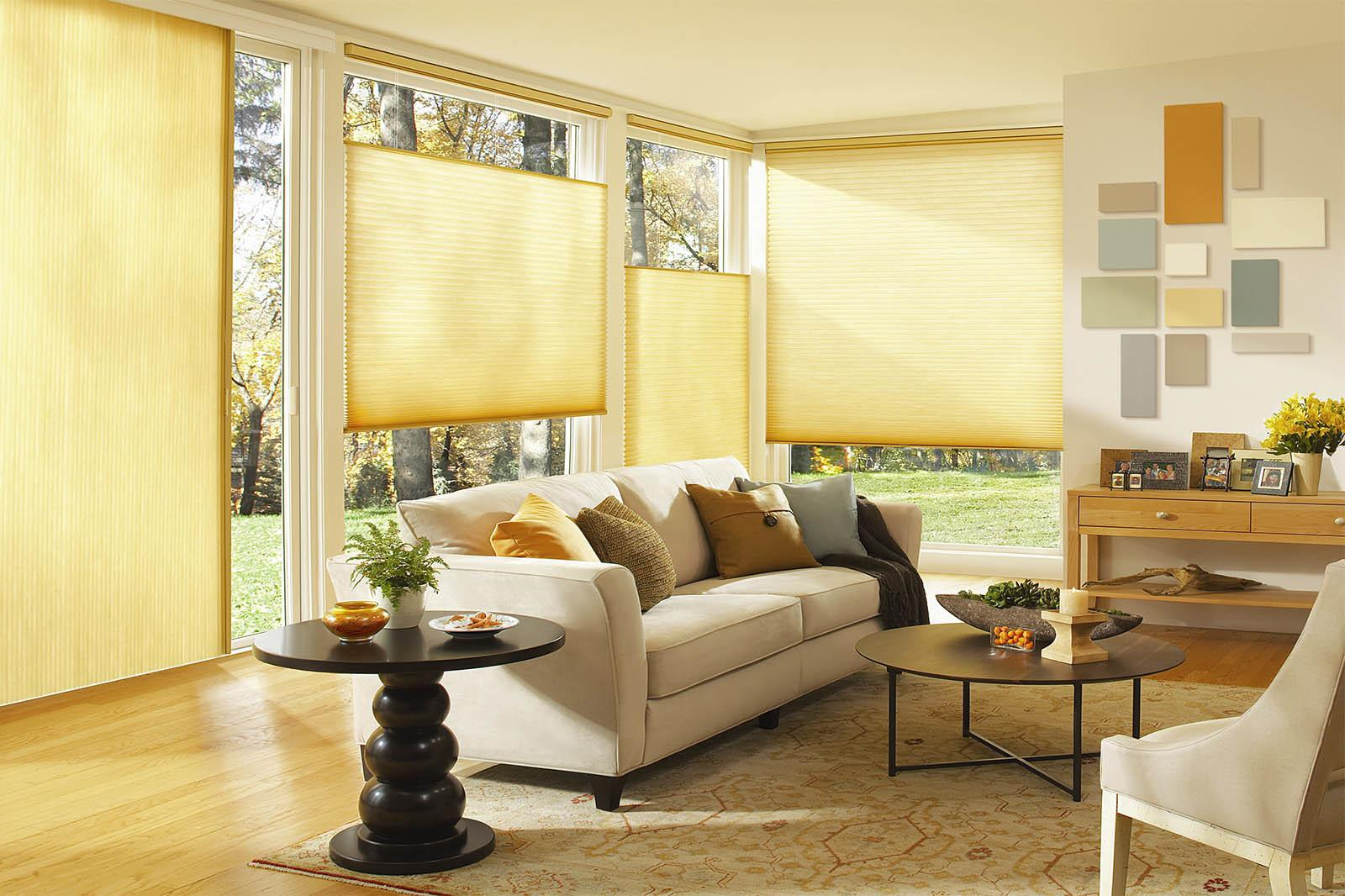 Spring Interior Decorating Yellow Blinds Combined