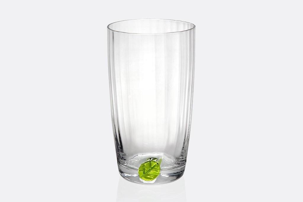 Spring Leaf Tall Drinking Glass Set Viridian Bay