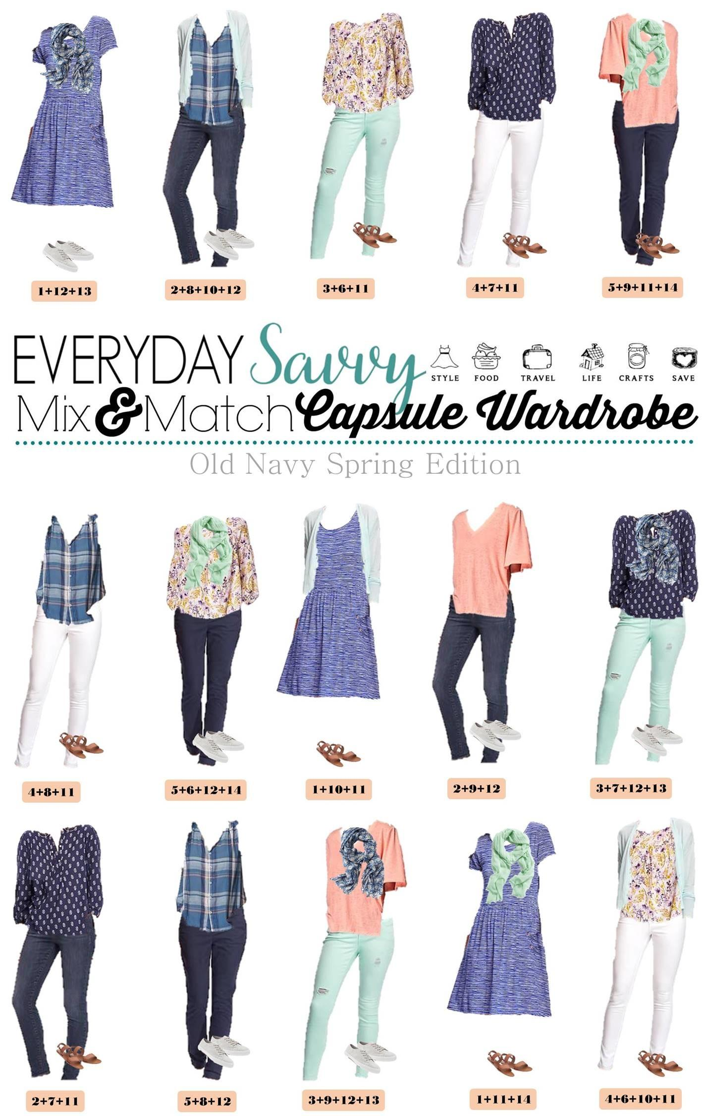 Spring Old Navy Capsule Wardrobe Mix Match Outfits