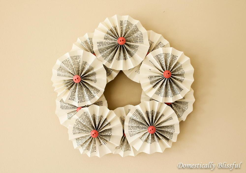Spring Rosette Recycled Book Wreath Allfreeholidaycrafts
