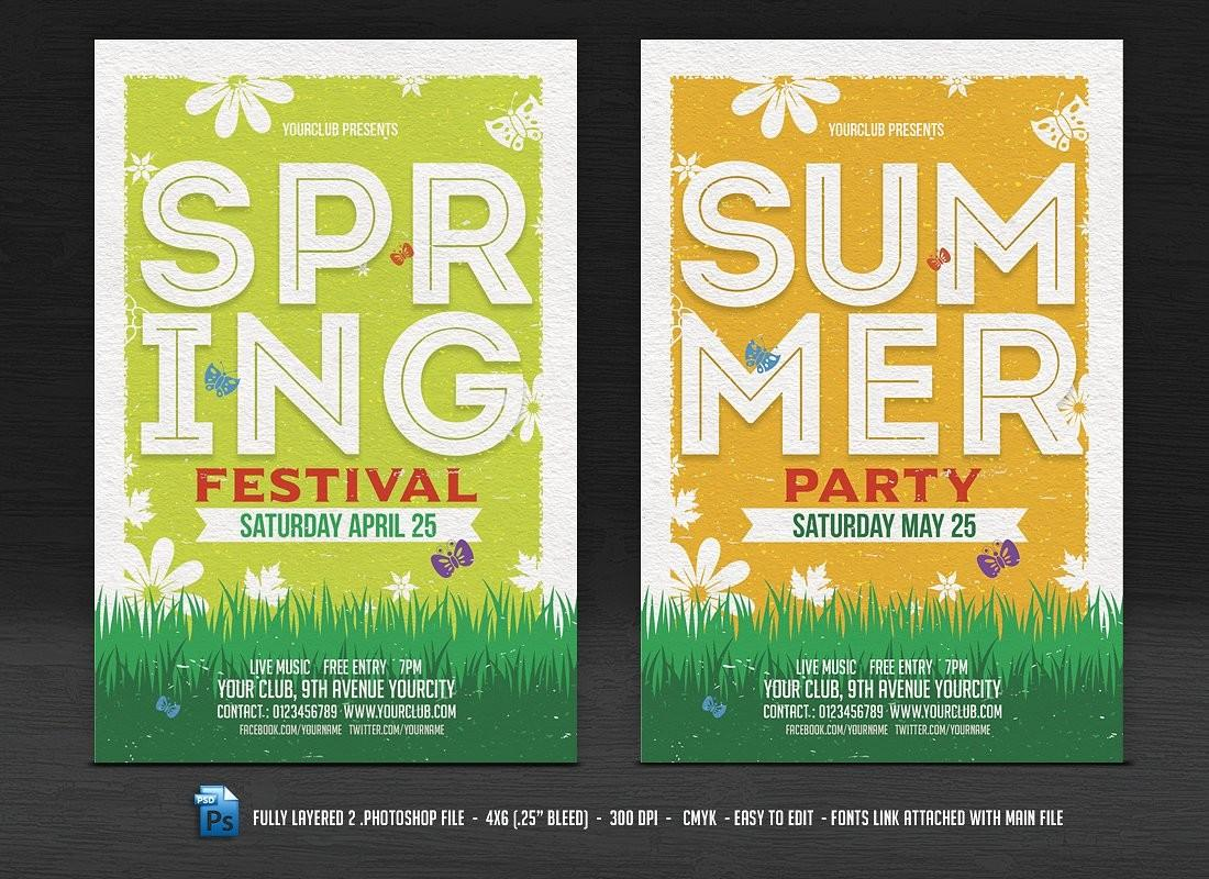 Spring Summer Flyers Flyer Templates Creative Market