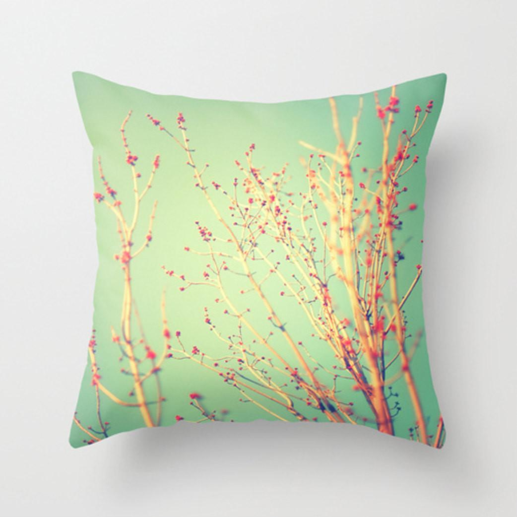 Spring Tree Decorative Pillow Teal Red Happypillowshop