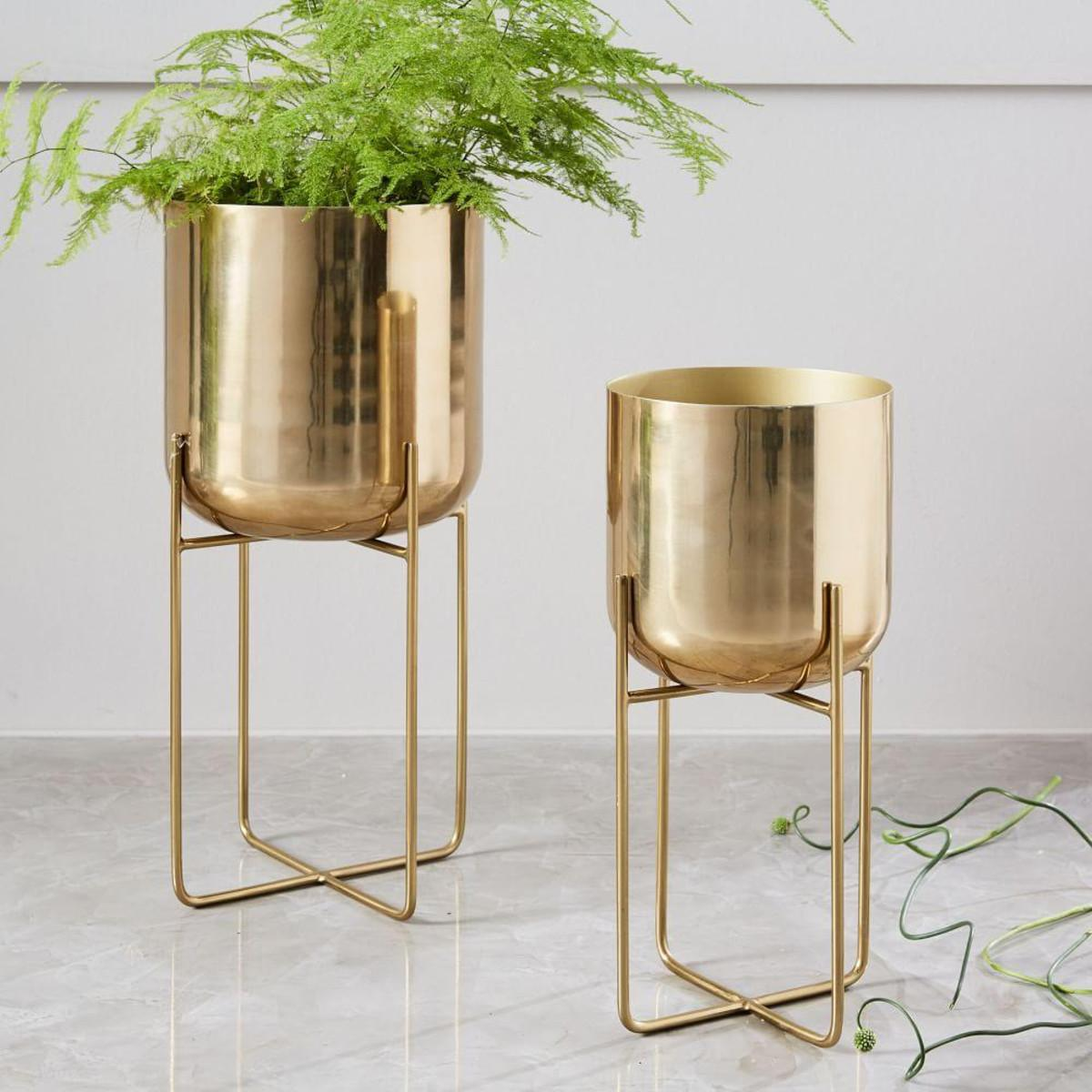 Spun Metal Standing Planter West Elm