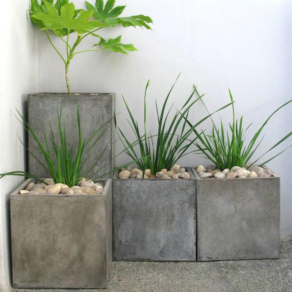 Square Concrete Planter Simple Tapered