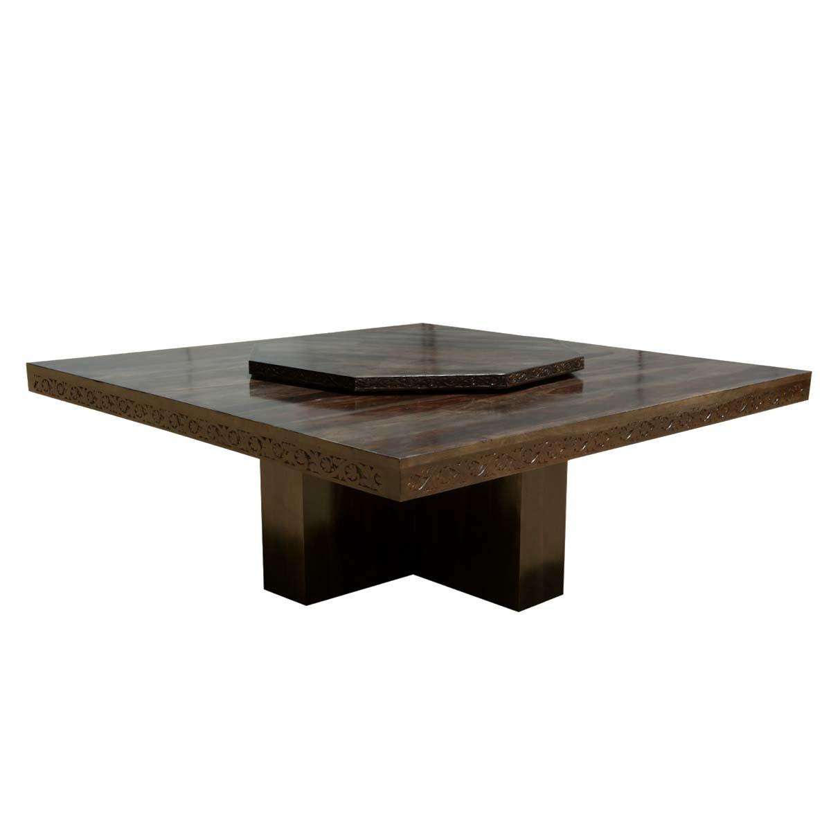 Square Contemporary Solid Wood Pedestal Dining Table