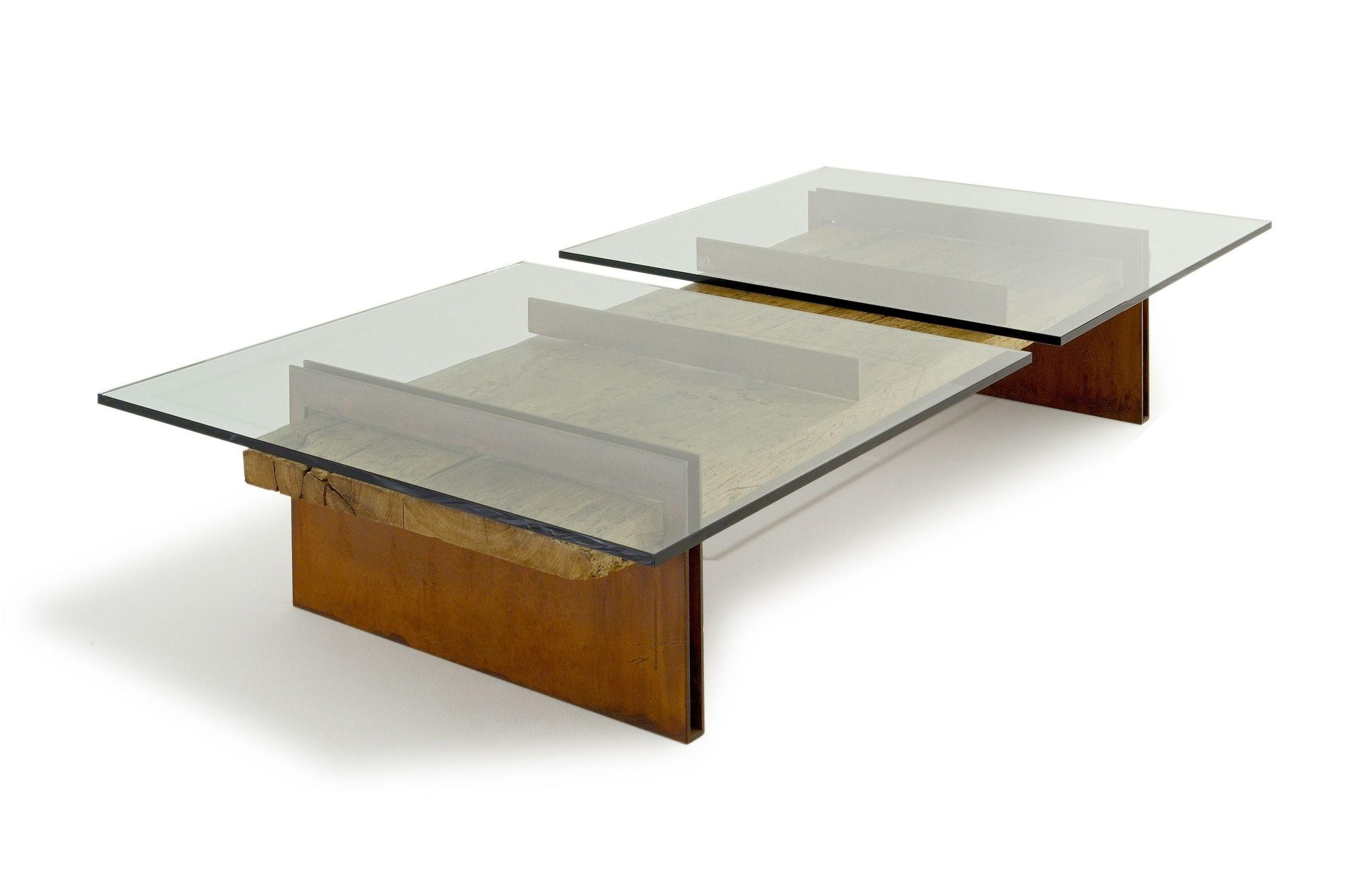 Square Glass Wood Coffee Table Decor Modern