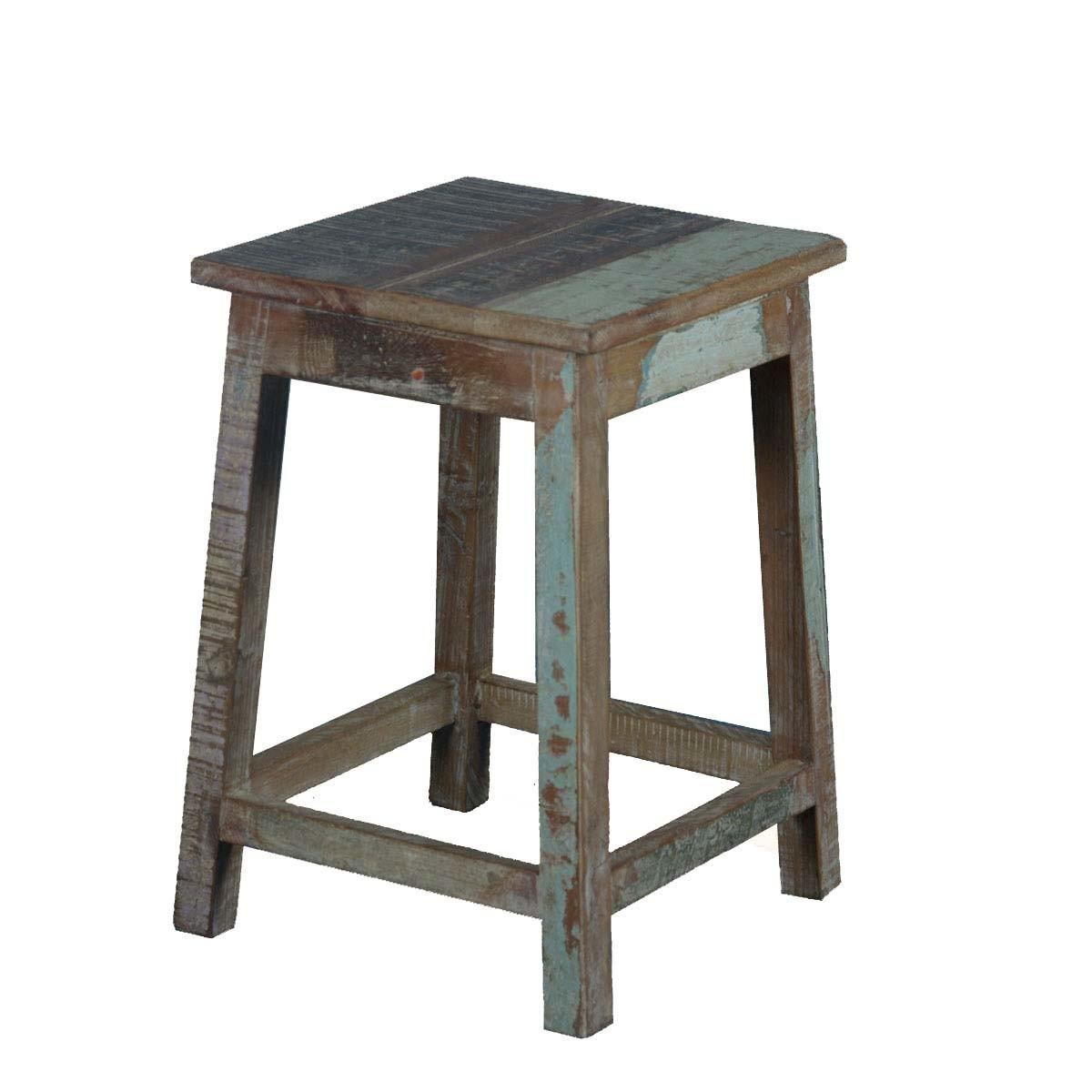 Square Rustic Reclaimed Wood Pedestal End Table Stool