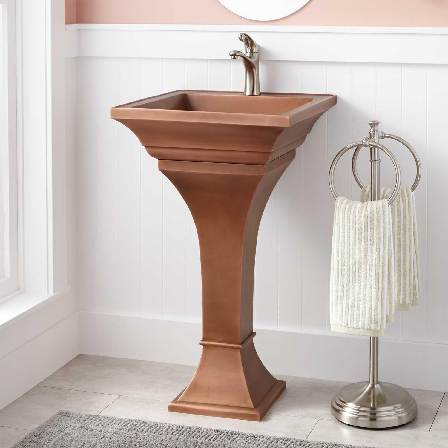 Square Smooth Copper Pedestal Sink Bathroom